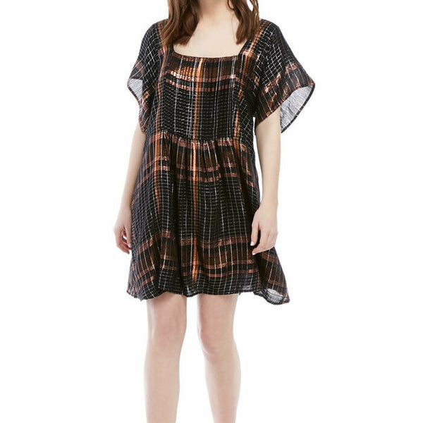 Free People Barcelona Plaid Metallic Flowy Boho Black Mini Dress Size M