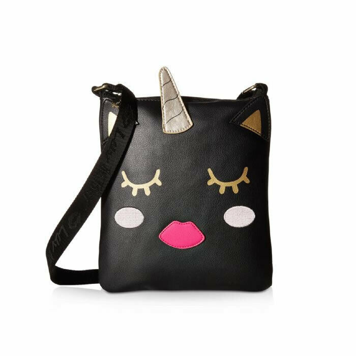 Betsey Johnson Julia Unicorn Kitch Black Crossbody Messenger Shoulder Bag