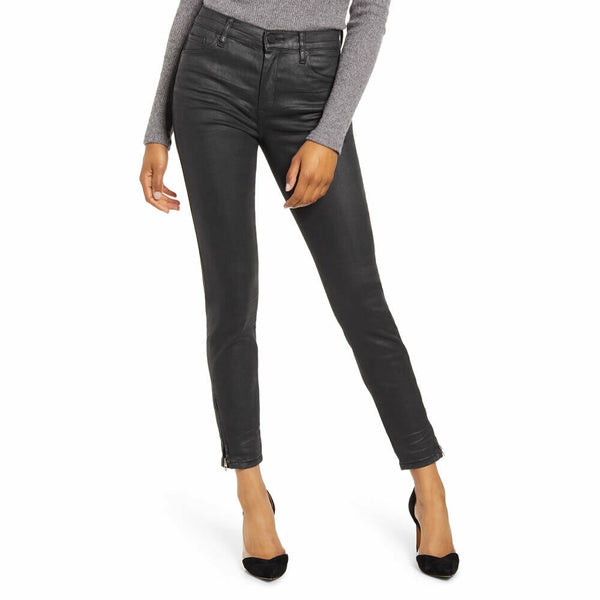 Blank NYC Womens Spartacus The Bond Coated Black Skinny Jeans Size 27