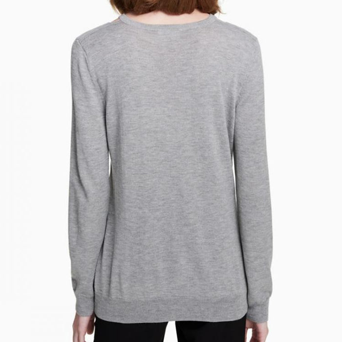 Calvin Klein V-Neck Cut-Out Grey Sweater Top Size XL