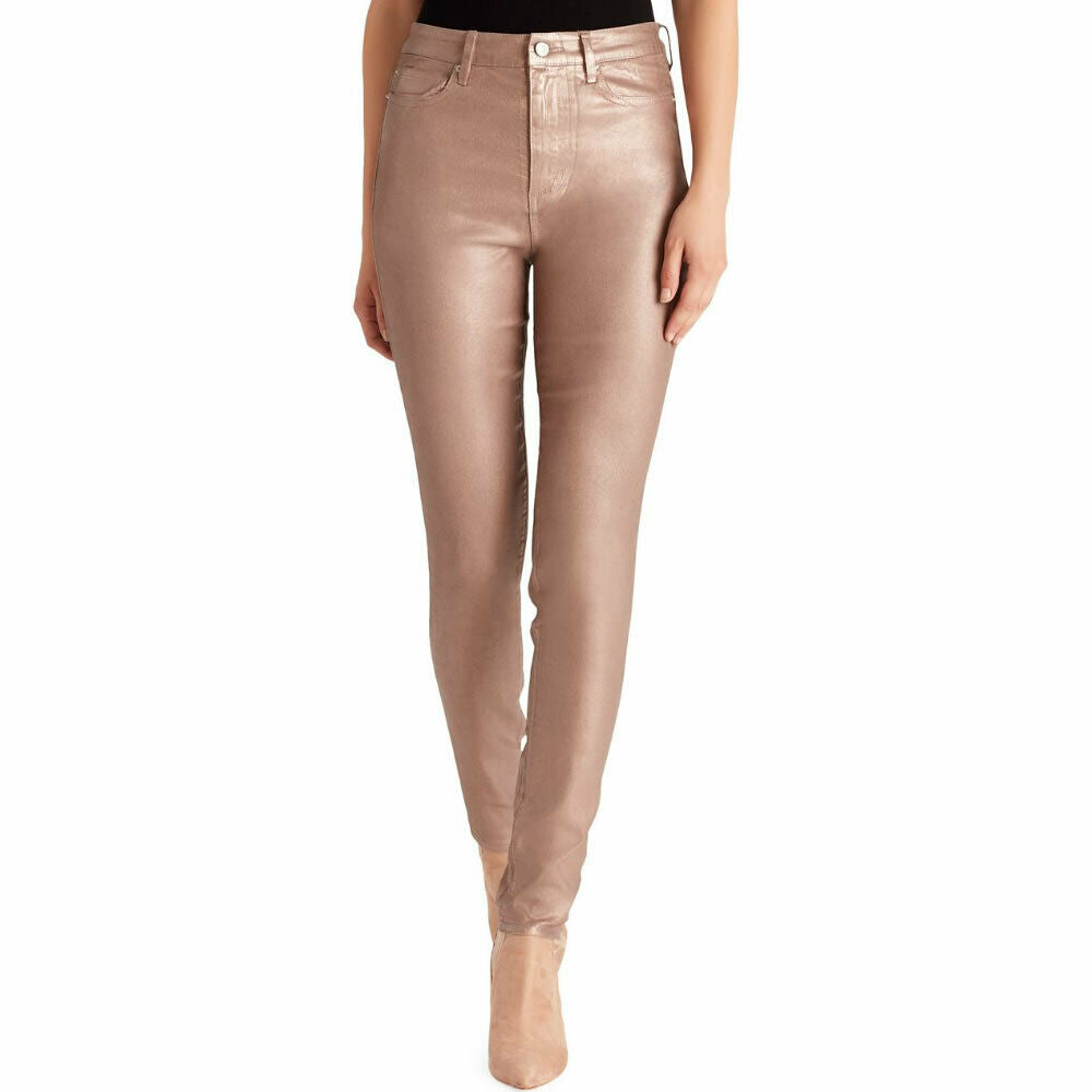 Ella Moss Anthropologie Size 24 Coated Stretch Skinny Ankle Jean in Rose Gold