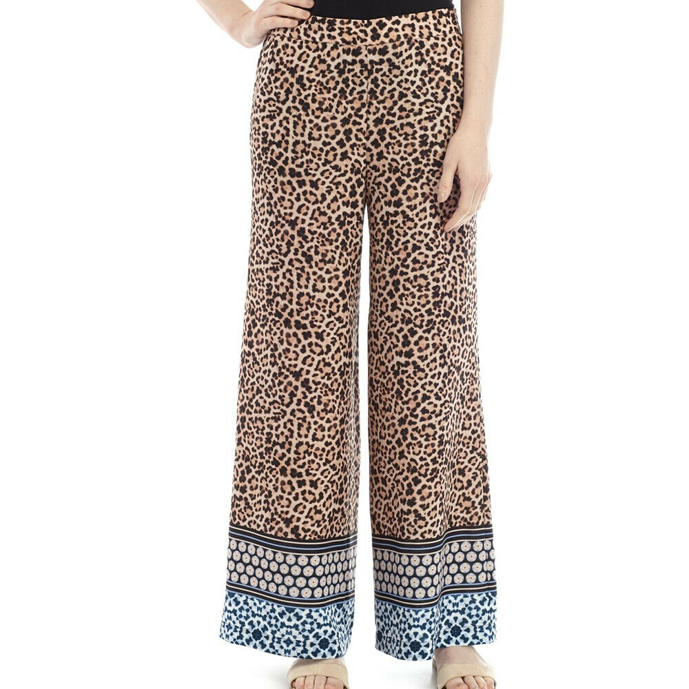 Joan Vass Leopard Print Pull On Wide Leg Pants Size XL