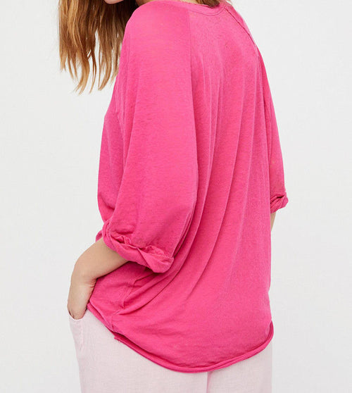 Free People Moonlight Tee Top Hot Pink Size L OB564545 NWT