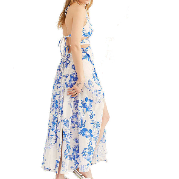 Free People Lille Printed Maxi Boho Festival Dress in Blue and White Size S