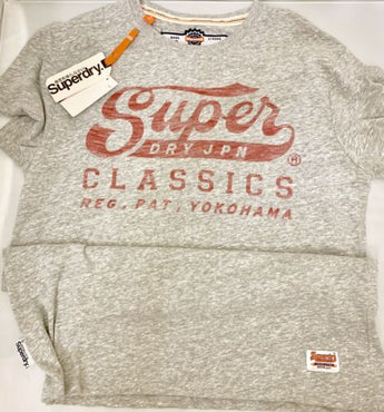 Superdry Mens Heather Gray Graphic Tee Size M