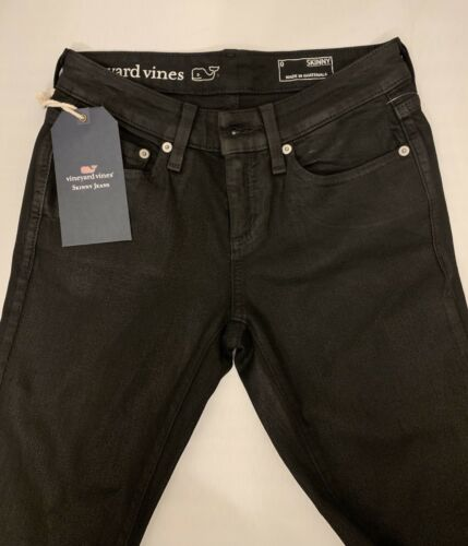 Vineyard Vines Midrise Skinny Black Coated Denim Jeans Size 0 NWT