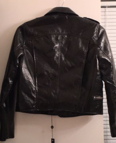Blank NYC Black Patent Leather Moto Jacket Size M NWT
