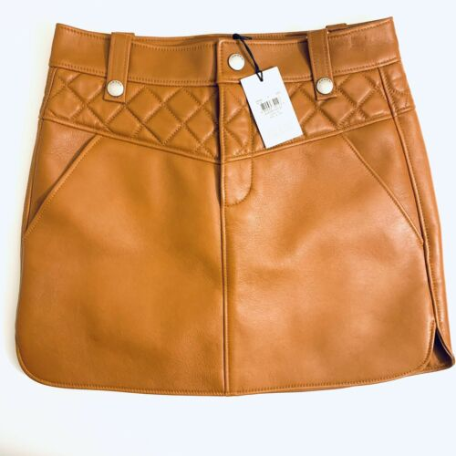 Coach Curved Hem Leather Mini Skirt in Tan Saddle Camel $695 - SIZE 0