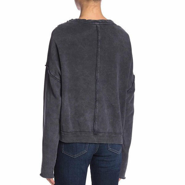 Free People Oh Marley Pullover Sweatshirt in Washed Black Size M