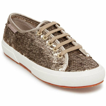 Superga Womens 2750 Bronze Sequin Lace-Up Casual Fashion Sneakers Shoes Size 8.5