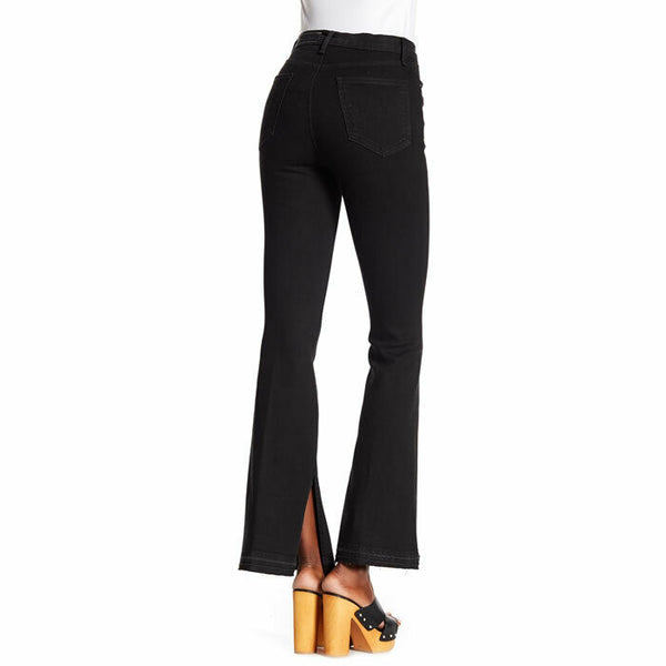 Rag & Bone High Rise Bella Slit Flare Black Stretch Jeans MSRP $225 Size 26