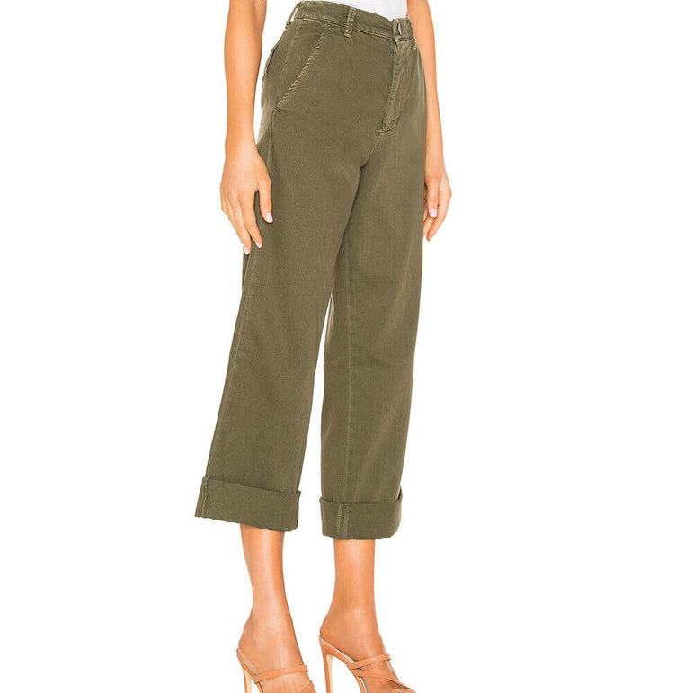 Free People On My Mind Wide Leg Boho Cropped Twill Pants Jeans in Green Size 28