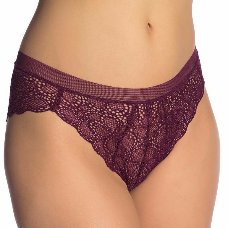 DKNY Women's Superior Lace Brazilian Bikini in Port Dark Size L