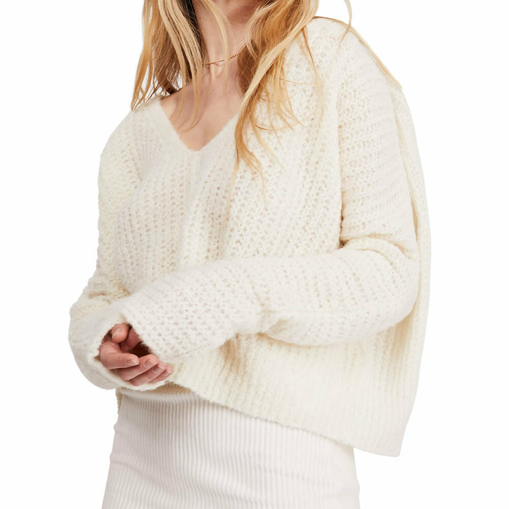 Free People Womens Moonbeam Alpaca Blend Ribbed Knit Pullover Sweater Size L
