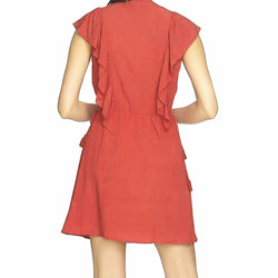 1.STATE V-Neck Ruffle Edge Dress With Ties Size L $119