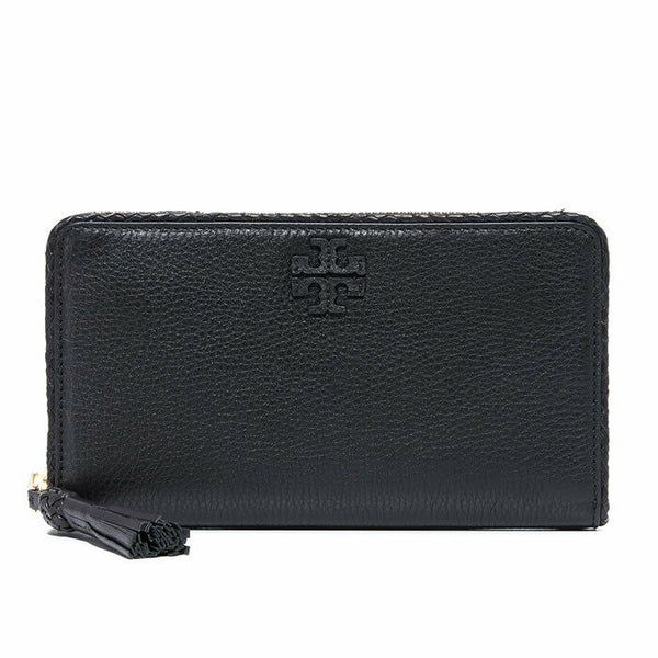 Tory Burch Taylor Zip Continental Black Pebble Leather Zip Around Wallet