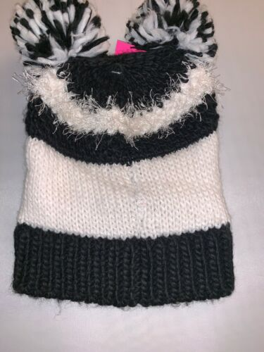 Betsy Johnson Black And White Hat With Sleepy Face And Two Pom Pom Toppers
