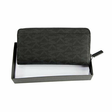 Michael Kors Mens Black Monogram Jet Set Tech Zip Around Wallet NWT