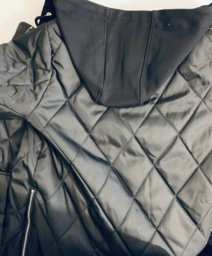 Vince Camuto Womens Black Hooded Quilted Bomber Style Jacket Coat Size S