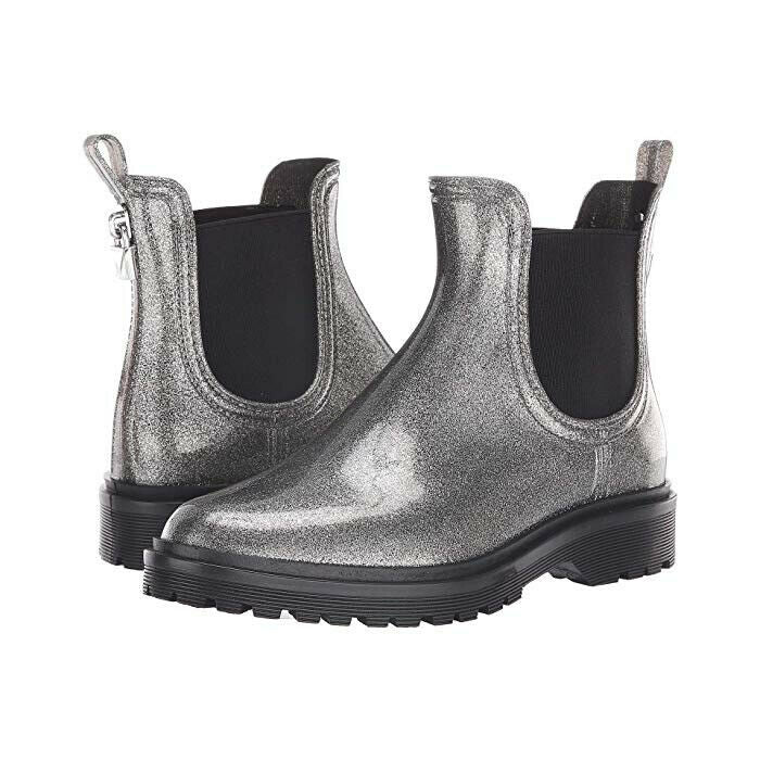 New Michael Kors Tipton Rain Bootie Boots in Gunmetal Silver Glitter Size 6