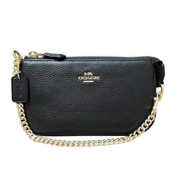 COACH Black Pebble Leather Zip Large Wristlet 19 Style F30258