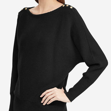 Ralph Lauren Women's Black Button Shoulder Boat Neck Sweater Top Plus Size 2X
