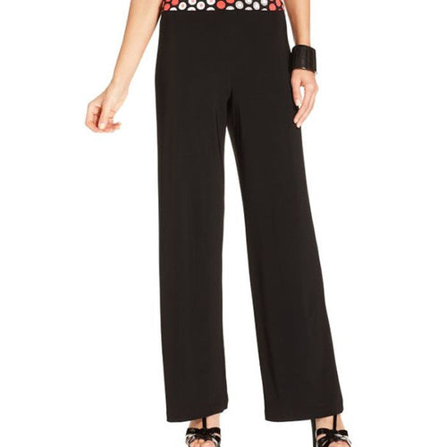 Ellen Tracy Women's Wide Leg Pull On Knit Black Pants Size XL NWT