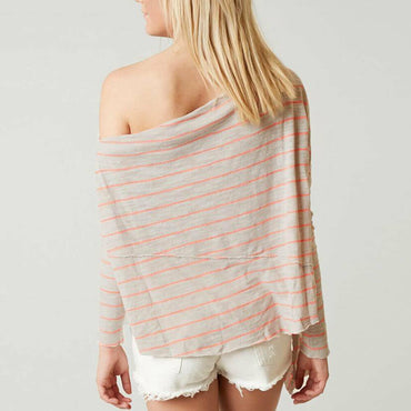 Free People Love Lane Off The Shoulder Raw Hem Striped Women's Top Size L