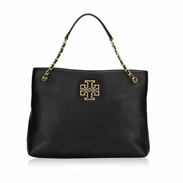 Tory Burch Britten Black Leather Triple Compartment Tote Shoulder Bag