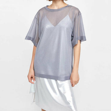 Zara Silver Metallic Sheer Knit Layering Short Sleeve Top Size S