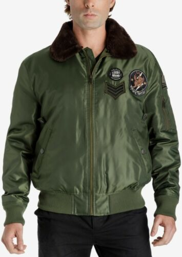 Lucky Brand Mens Green Bomber Flight Aviator Style Jacket Coat Patches Size S