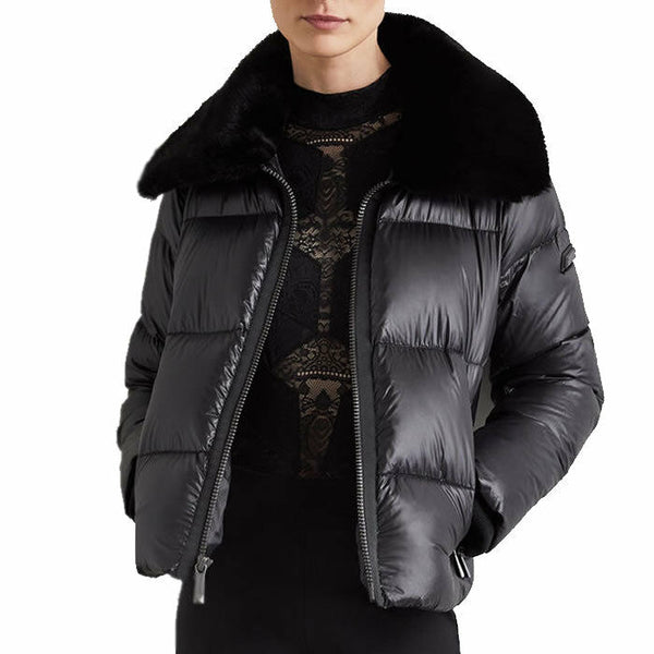 BCBGMAXAZRIA Faux Fur Collar Quilted Puffer Black Down Jacket Coat Size S