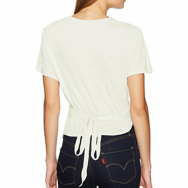 BCBGMaxAzria Tracee Tie Front Silk Blend White Natural Knit Top