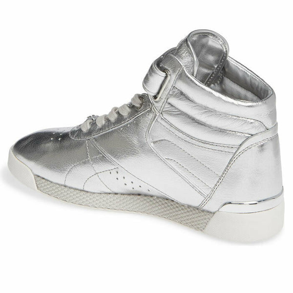 Michael Kors Addie High Top Metallic Silver Leather Fashion Sneaker Size 7.5