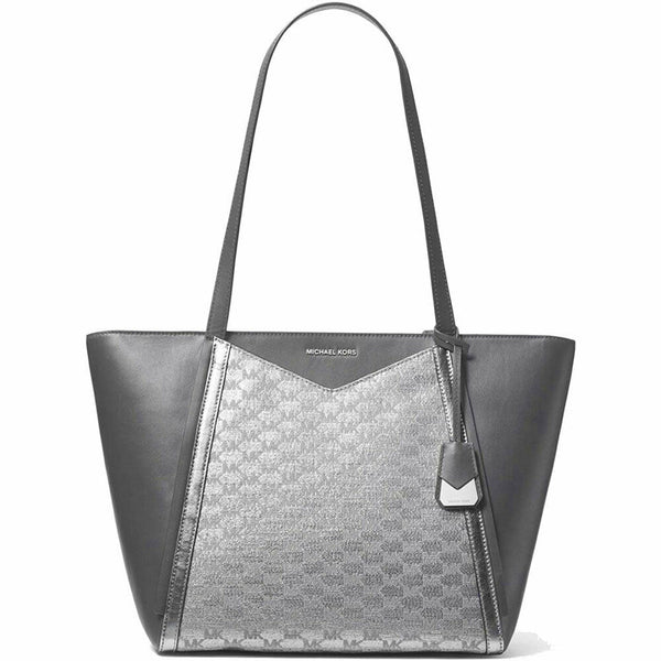 Michael Kors Whitney Large Metallic Silver Logo Tote Bag