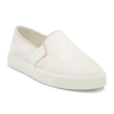 Vince Blair 12 White Crackle Leather Slip-On Fashion Sneaker Size 9 $195