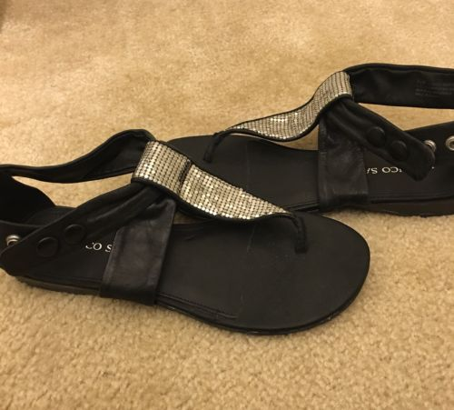 Franco Sarto Embellished Black Leather Sandals