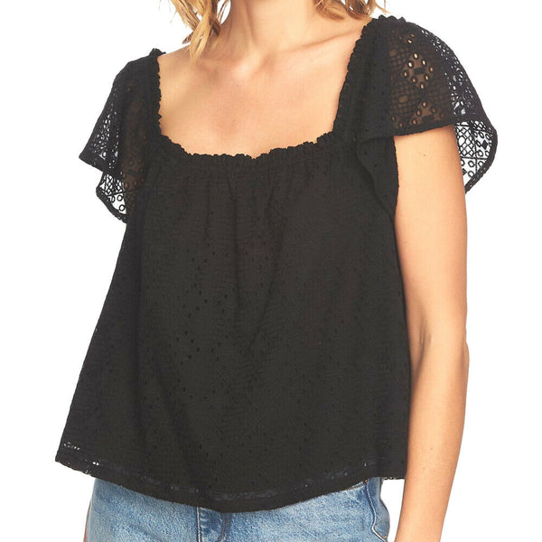 1. STATE Black Boho Embroidered Eyelet Square Neck Blouse Top Size L
