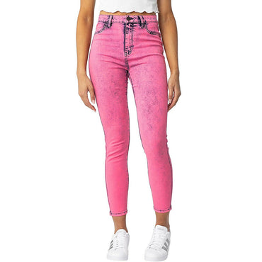 Almost Famous Super High Rise Neon Pink Acid Wash Stretch Skinny Jeans Size L