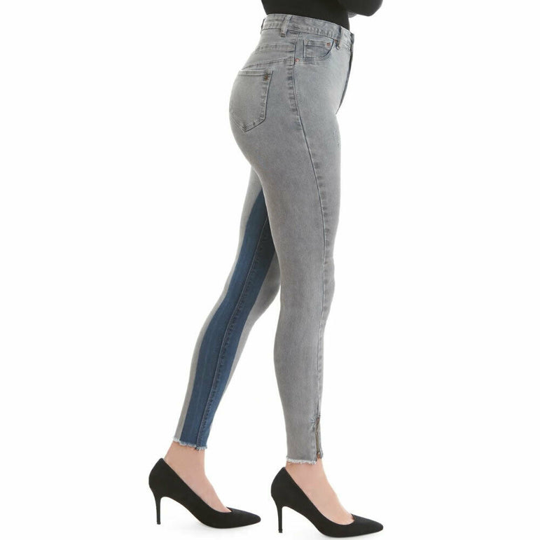 LaLa Anthony Stiletto High Rise Side Zip Stretch Skinny Jeans