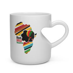 Black, Bold and Beautiful Heart Shape Mug