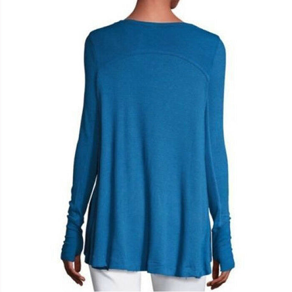 Free People Malibu Thermal Tunic Long Sleeve Knit Top in Cobalt Blue Size XS