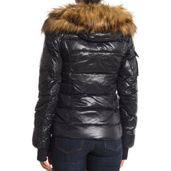 S13 Women's Kelly Black Hip Length Down Puffer Faux Fur Hood Size L