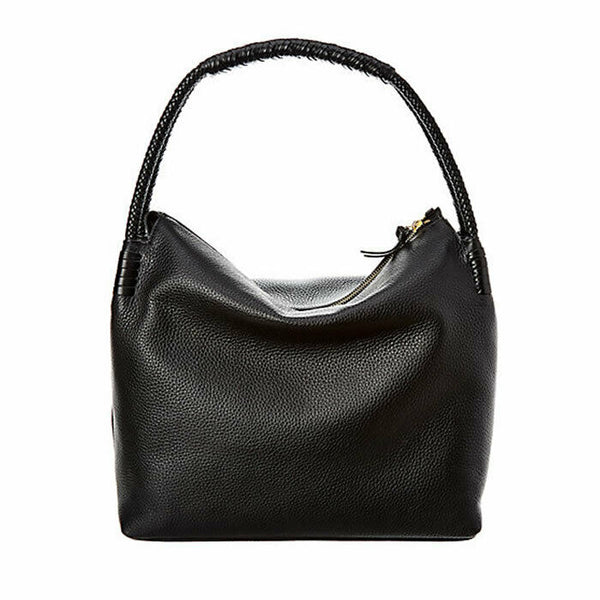 Tory Burch Taylor Hobo Zip Top Black Pebbled Leather Shoulder Bag