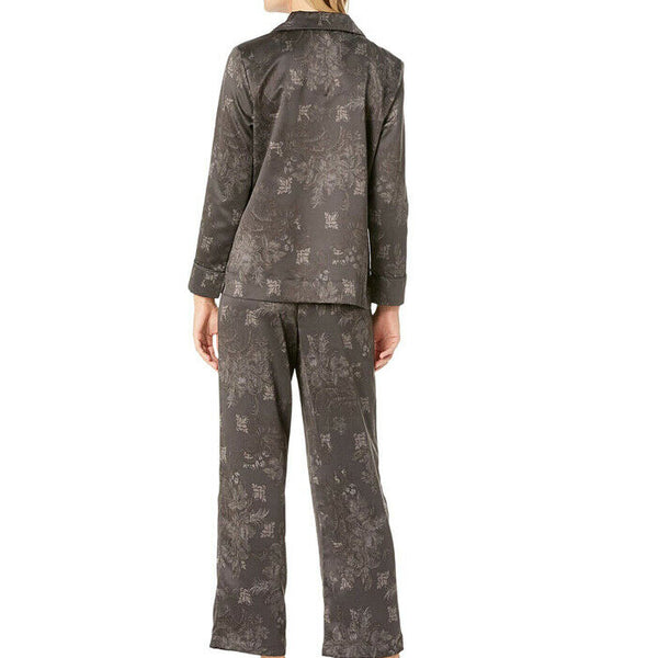 Ralph Lauren Womens Gray Black Tonal Satin Notch Collar Pajamas Size L