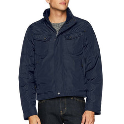 William Rast Men's Navy Blue Micro Tech Bomber Jacket Coat Size M