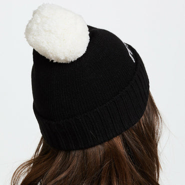 Kate Spade Black Ooh La La Beanie Knit Hat With White Pom Pom