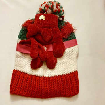Betsy Johnson Holiday Theme Love Knit Hat & Glove Set