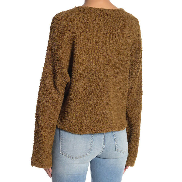 Free People Popcorn Pullover Crop Sweater Top in Moss Large L $108 NWT OB870953