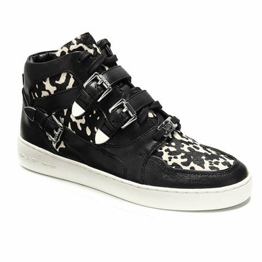 Michael Kors Robin High Top Calf Hair Leopard Fashion Sneakers - Size 8